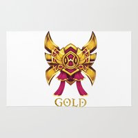 league of legends Area & Throw Rugs featuring Pink League of Legends Gold Tier  by Big Little POP World