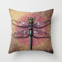 dragonfly Throw Pillows featuring Dragonfly  by Werk of Art