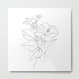 Floral one line drawing - Hibiscus Metal Print