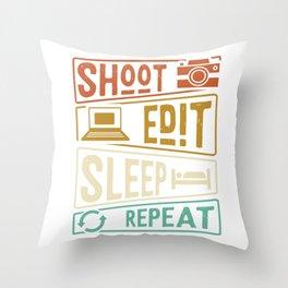 Photographer photo editing Throw Pillow