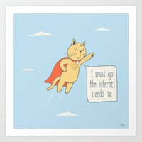 internet Art Prints featuring Internet Cat by Phil Jones