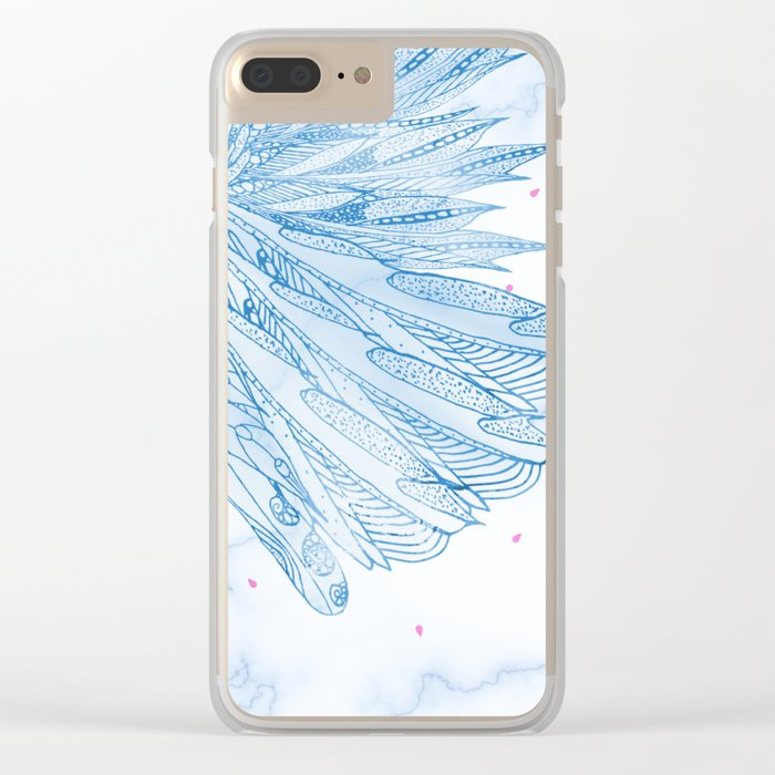 Beautiful Feathers on Blue Marble Design Clear iPhone Case