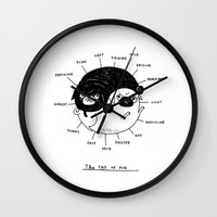 pug Wall Clocks featuring The Tao of Pug by gemma correll