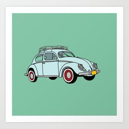 Blue Vintage Car Art Print