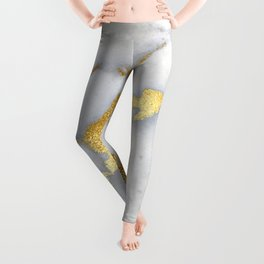 White and Gray Marble and Gold Metal foil Glitter Effect Leggings
