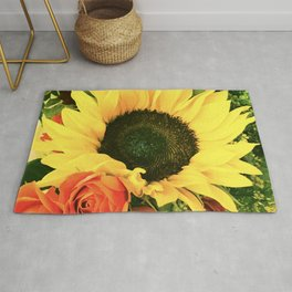 Big Country Sunflower and Classic Red Roses Rug