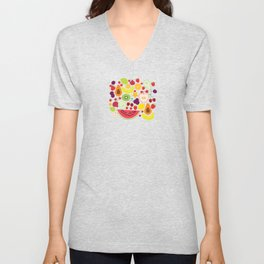 Healthy lifestyle. Fruits on white background Unisex V-Neck
