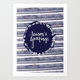 Seasons Greetings (Navy) Art Print