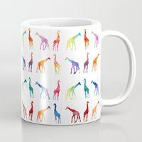giraffes Mugs featuring Giraffes by emegi
