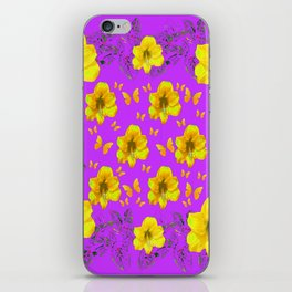 YELLOW AMARYLLIS FLOWERS & BUTTERFLIES PURPLE ART iPhone Skin