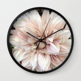 Dreamy Dahlia Cream Blush Pink Floral Decor Wall Clock