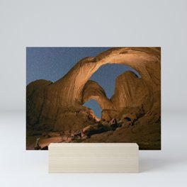 Double Arch And The Milky Way - Arches National Park - Moab, Utah. Mini Art Print