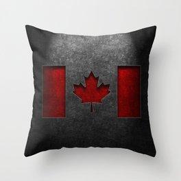 Canadian Flag Stone Texture Throw Pillow