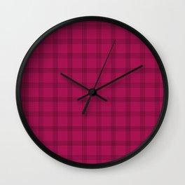 Black Grid on Dark Pink Wall Clock