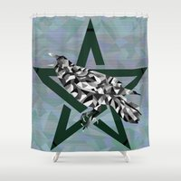 pagan Shower Curtains featuring Mosaic Crow and Pentacle  by Watch House Design