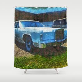 Tough old battleship, a Lincoln at a Lincoln Tech facility Shower Curtain