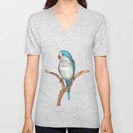 Blue quaker parrot watercolor Unisex V-Neck