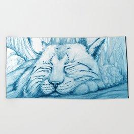 Bobcat nap Beach Towel