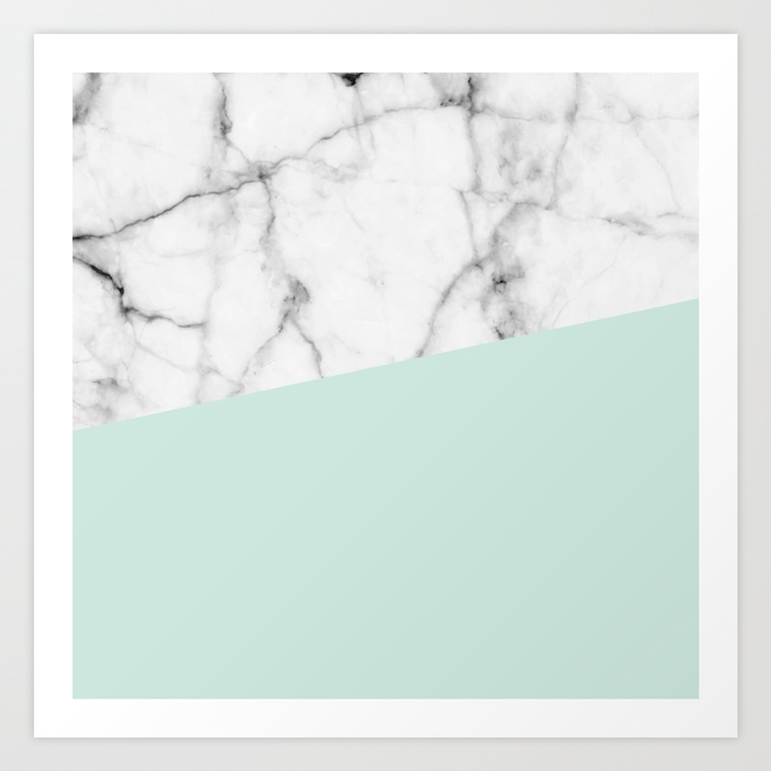 Real White Marble Half Pastel Mint Green Art Print By 5mmpaper