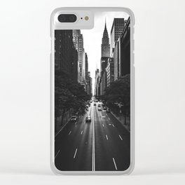New York City (Black and White) Clear iPhone Case