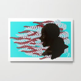 Black woman with braids floral Metal Print