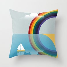 Rainbow by the Sea Throw Pillow