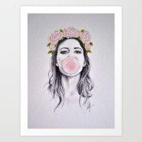 bubble Art Prints featuring Bubble by Libby Watkins Illustration