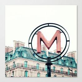 Paris Metro Sign Canvas Print