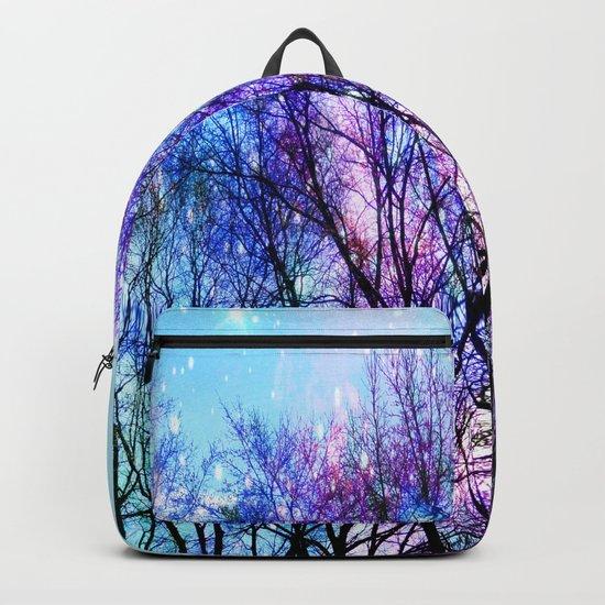 Black Trees Playful Pastels Space Backpack