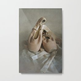 Creamy pointe ballet shoes Metal Print