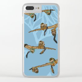 Squirrel Monkeys + Babies in Trees with Large Leaf Pattern Clear iPhone Case