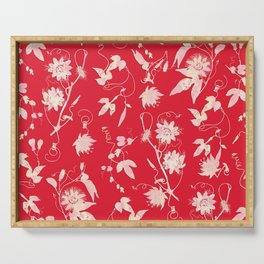 Festive Christmas Bright Red Passion Flowers Serving Tray