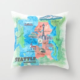 Seattle Washington Travel Poster Favorite Map Throw Pillow