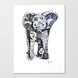 An Elephant Plays Soccer Canvas Print