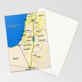 Israel Map design Stationery Cards