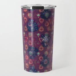 Lotus flower - orange and blue on mulberry woodblock print style pattern Travel Mug