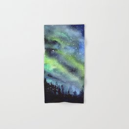 Galaxy Nebula Watercolor Northern Lights Aurora Borealis Hand & Bath Towel
