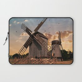 Traditonal dutch windmills at sunrise Laptop Sleeve
