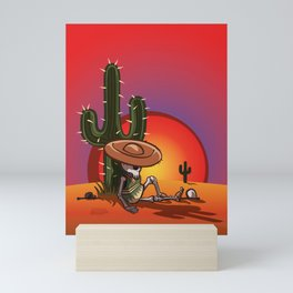 Cactus and skeleton at Sunset Mini Art Print