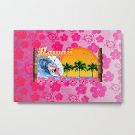 Pink Hibiscus Hawaiian Surfing  Metal Print
