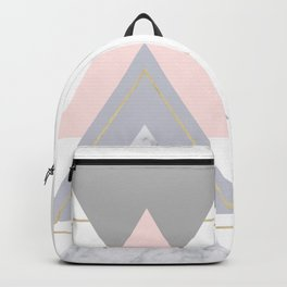 Blush Marble Gray Gold Geometric Pattern Backpack