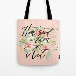 How Great Thou Art Calligraphy and Watercolor Tote Bag