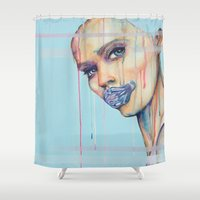 mouth Shower Curtains featuring Metal Mouth by Anne Blondie Bengard