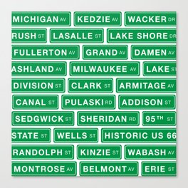 Famous Chicago Streets // Chicago Street Signs Canvas Print