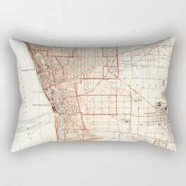 Vintage Map of Redondo Beach & Torrance CA (1934) Rectangular Pillow