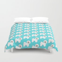 Bichon Frise on aqua / teal / cute dogs/ dog lovers gift Duvet Cover