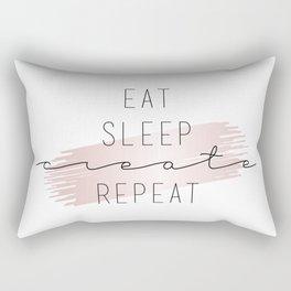 Eat Sleep Create Repeat Typography Sign Rectangular Pillow