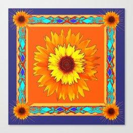 Southwestern Sun Flowers Abstract Design Canvas Print