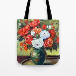 Red and White Roses Tote Bag