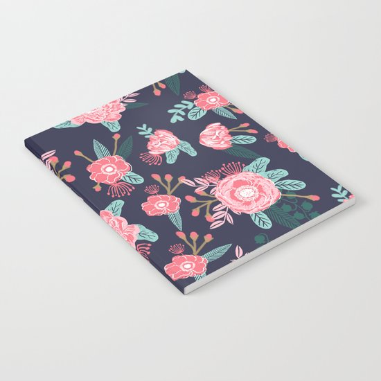Peony floral bouquet navy pink bright happy flowers dorm college office decor must have pattern Notebook